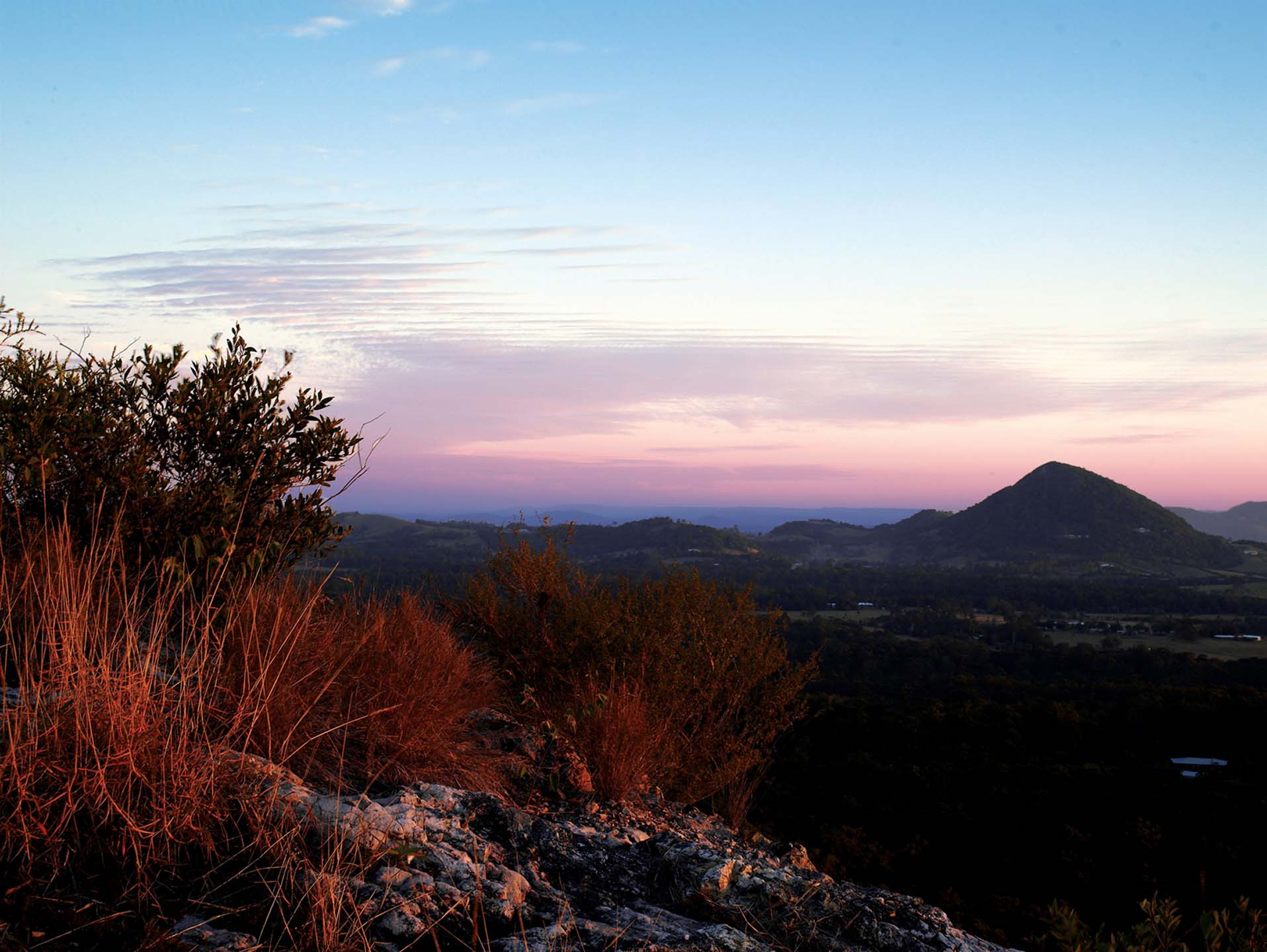view of mount tinbeerwah with a colourful sky at sunset