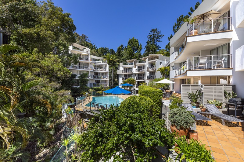 Noosa apartments - the pool and gardens at the Cove Noosa
